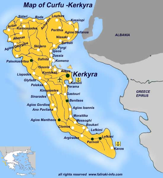 Harta Insula Corfu Litoral Harta Insula Corfu Grecia Harti Insula