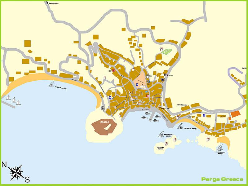 Harta Parga Litoral Harta Parga Grecia Harti Parga Grecia Litoral